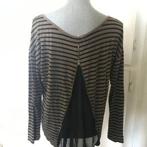 Black and Brown Striped Long Sleeve Top